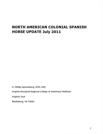 North American Colonial Spanish Horse Update