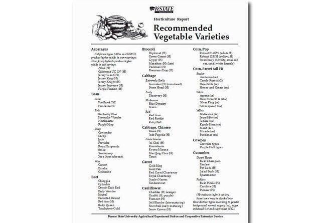 Recommended Vegetable Varieties