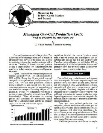 Managing Cow-Calf Production Costs