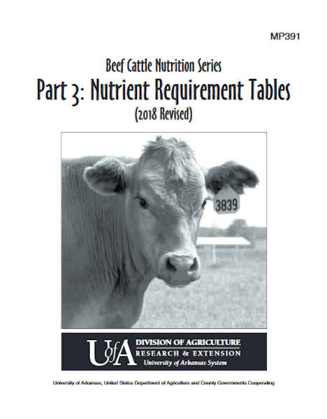 Beef Cattle Nutrition Series: Nutrient Requirement Tables